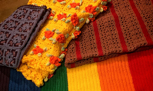 Crochet blankets from Members at Lovelock